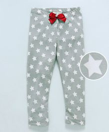 Crayonflakes Stars Printed Full Length Leggings With Bow Detail - Grey