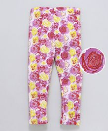 Crayonflakes Rose Printed Full Length Leggings - Pink