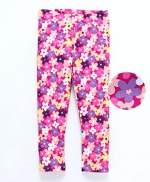 Crayonflakes Small Flower Printed Full Length Leggings - Pink