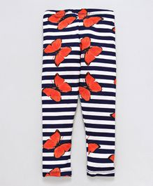 Crayonflakes Striped & Butterfly Printed Full Length Leggings - Blue & White
