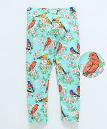 Crayonflakes Birds & Flower Printed Full Length Leggings - Blue