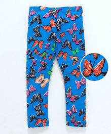 Crayonflakes Butterflies Printed Full Length Leggings - Blue