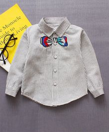 Pre Order - Awabox Full Sleeves Bow Embroidered Striped Shirt - Grey