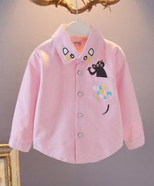 Pre Order - Awabox Full Sleeves Cat Print Collar Neck Shirt - Pink