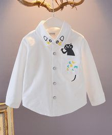 Pre Order - Awabox Full Sleeves Cat Print Collar Neck Shirt - White
