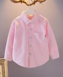 Pre Order - Awabox Full Sleeves Solid Front Buttoned Shirt - Pink