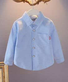 Pre Order - Awabox Full Sleeves Solid Front Buttoned Shirt - Blue