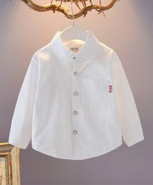 Pre Order - Awabox Full Sleeves Solid Front Buttoned Shirt - White