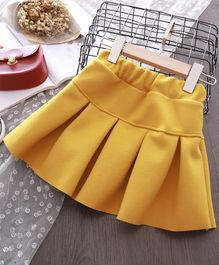 Pre Oder -  Awabox Solid Short Length Box Pleated Skirt - Yellow