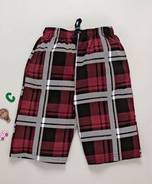 Ollypop Quarter Pants Checks Pattern - Red Black White