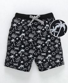 Ollypop Shorts Beach Print - Black