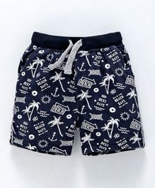 Ollypop Shorts Beach Print - Navy Blue
