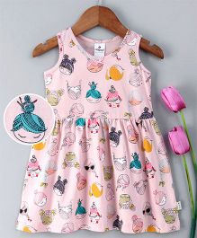 Ollypop Sleeveless Frock Doll Face Print - Baby Pink