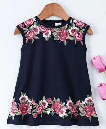 Ollypop Sleeveless Frock Flower Print - Navy Blue