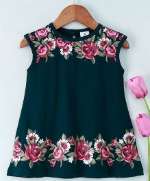 Ollypop Sleeveless Frock Flower Print - Green