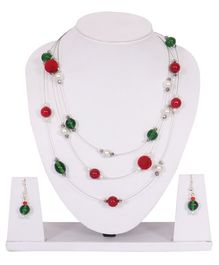 Carolz Jewelry Pearls Design Necklace & Earrings Set - Red