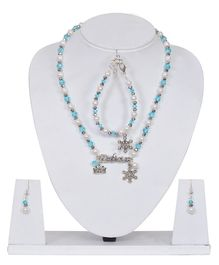 Carolz Jewelry Snowflake Charm Necklace & Bracelet With Earrings Set - Blue