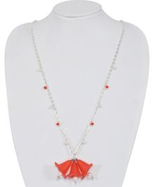 Carolz Jewelry Flower Design Long Chain Necklace - Red