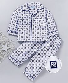 Star Of Capital All Over Printed Night Suit - Navy & White