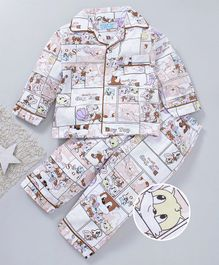 Star Of Capital Animals Printed Night Suit - Brown