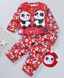 Star Of Capital Panda Printed Night Suit - Red