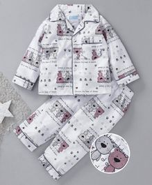 Star Of Capital Teddy Printed Night Suit - White