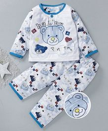 Star Of Capital Bear Printed Night Suit - Blue