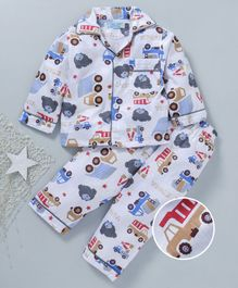 Star Of Capital Bus & Bear Printed Night Suit - Grey