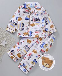 Star Of Capital Bus & Bear Printed Night Suit - Brown