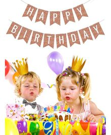 Skylofts Happy Birthday Party Banner - Gold
