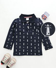 Kookie Kids Full Sleeves T-Shirt With Light House Print - Navy Blue