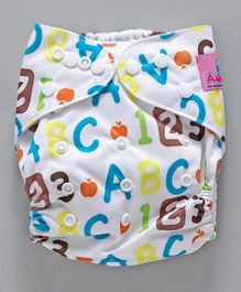Adore Universal Size Adjustable Cloth Diaper With Insert Alphabet Print - Multicolour