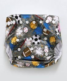 Adore Universal Size Adjustable Cloth Diaper With Insert Ball Print - Grey