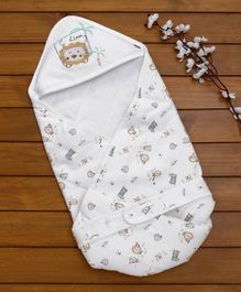 Baby Hooded Wrapper Lion Print - White