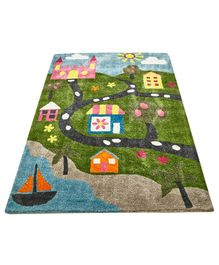 NHR Premium Quality Handwoven House Design Rug - Multicolor