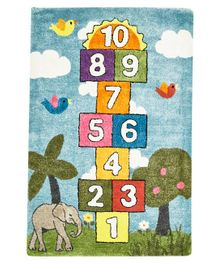 NHR Premium Quality Handwoven Numbers Themed Kids Rug - Multicolour