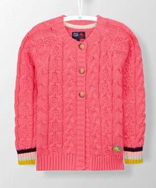 Cherry Crumble California Cable Knitted Full Sleeves Cardigan - Pink
