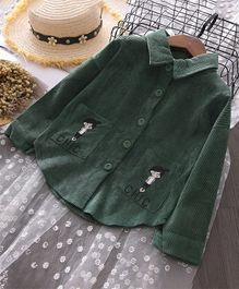 Pre Order - Awabox Girl Printed Full Sleeves Shirt With Pockets - Green