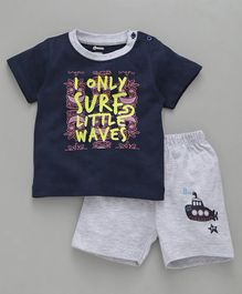 Ohms Half Sleeves Tee With Shorts Surf Little Print - Navy