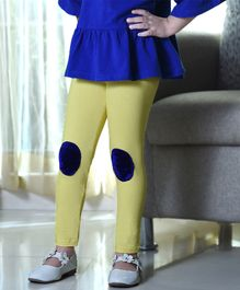 D'chica Solid Patch Work Full Length Leggings - Yellow