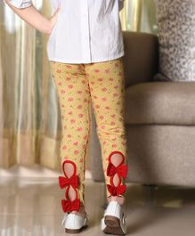 D'chica Rose Printed Full Length Leggings With Bow Detail - Yellow