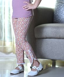 D'chica Small Flower Printed Full Length Leggings - Pink &Yellow