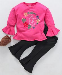 Kookie Kids Flower Embroidered Full Sleeves Top & Bottom Set - Dark Pink & Black