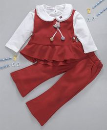 Kookie Kids Full Sleeves Inner With Top & Pant Set - Red & White
