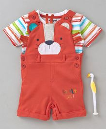 Cucumber Dungaree Romper With Half Sleeves Stripe Tee Bear Design - Orange Multicolour