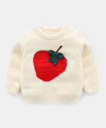 Pre Order - Awabox Strawberry Design Full Sleeves Sweater - Cream