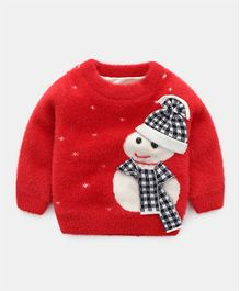 Pre Order - Awabox Full Sleeves Snowman Design Sweater - Red