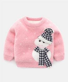 Pre Order - Awabox Full Sleeves Snowman Design Sweater - Pink