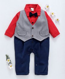 Kookie Kids Full Sleeves Romper With Striped Attached Waistcoat - Red