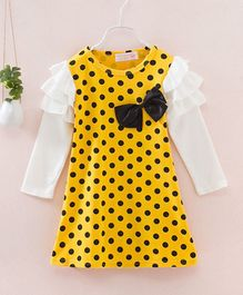 Pre Order - Awabox Full Sleeves Polka Dot Print Bow Applique Dress - Yellow